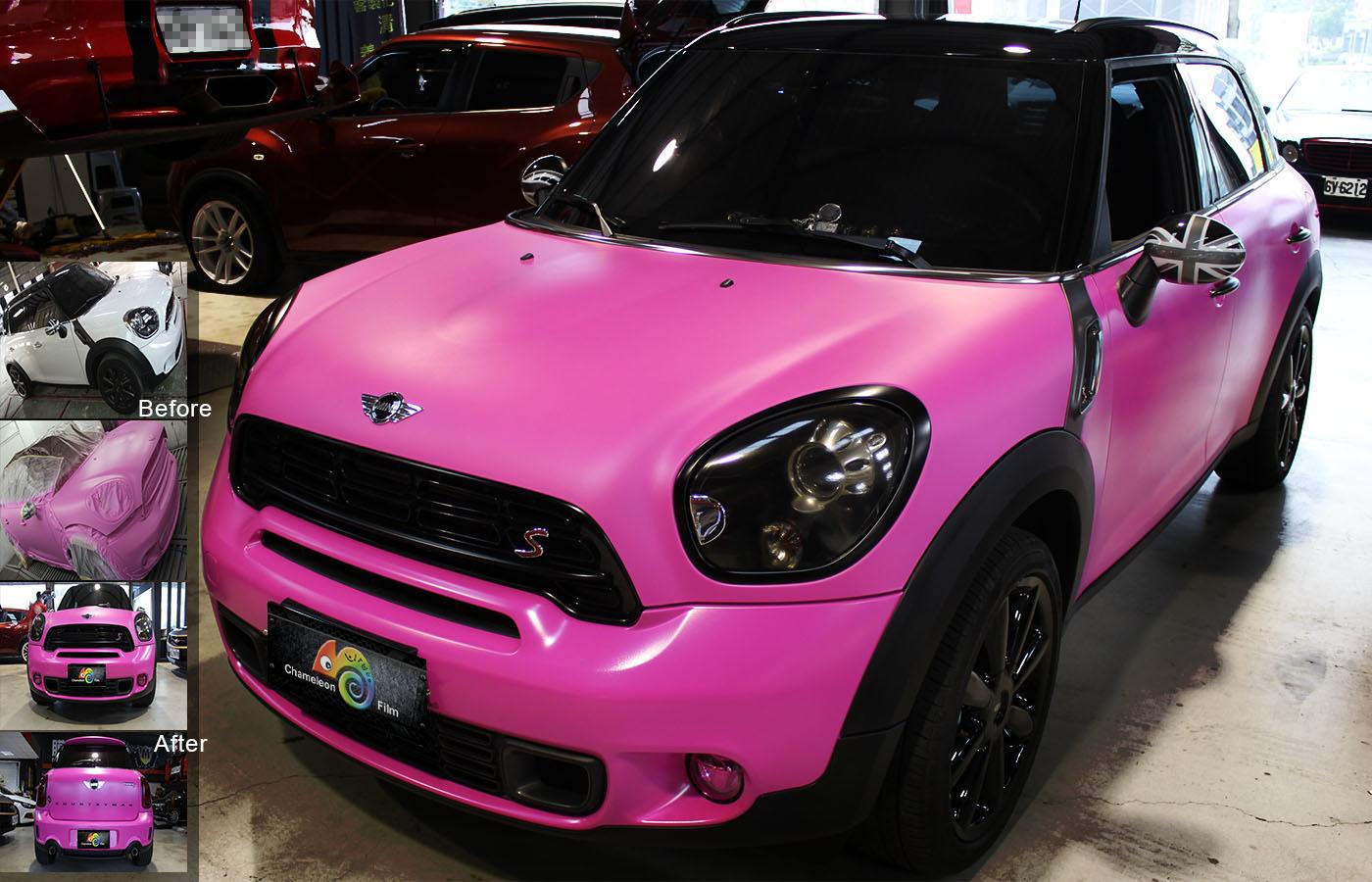 100 matte pink porsche range rover evoque wrapped in satin